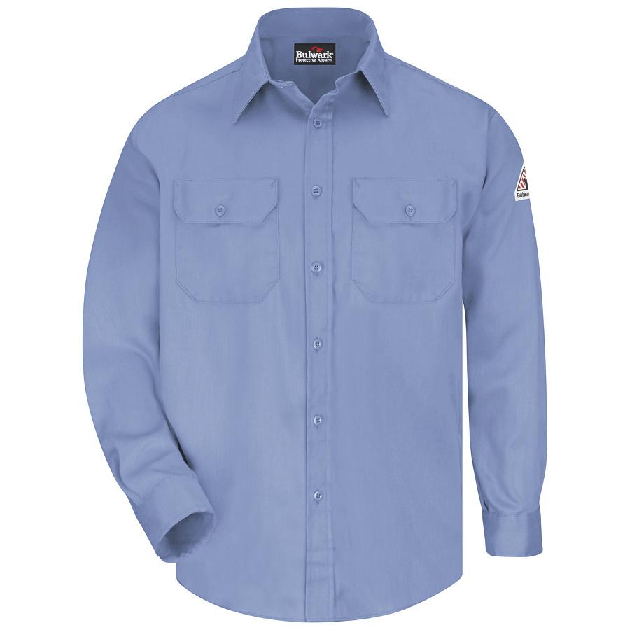 Shop bulwark men 39 s 3xl light blue twill cotton blend long for Blue cotton work shirts