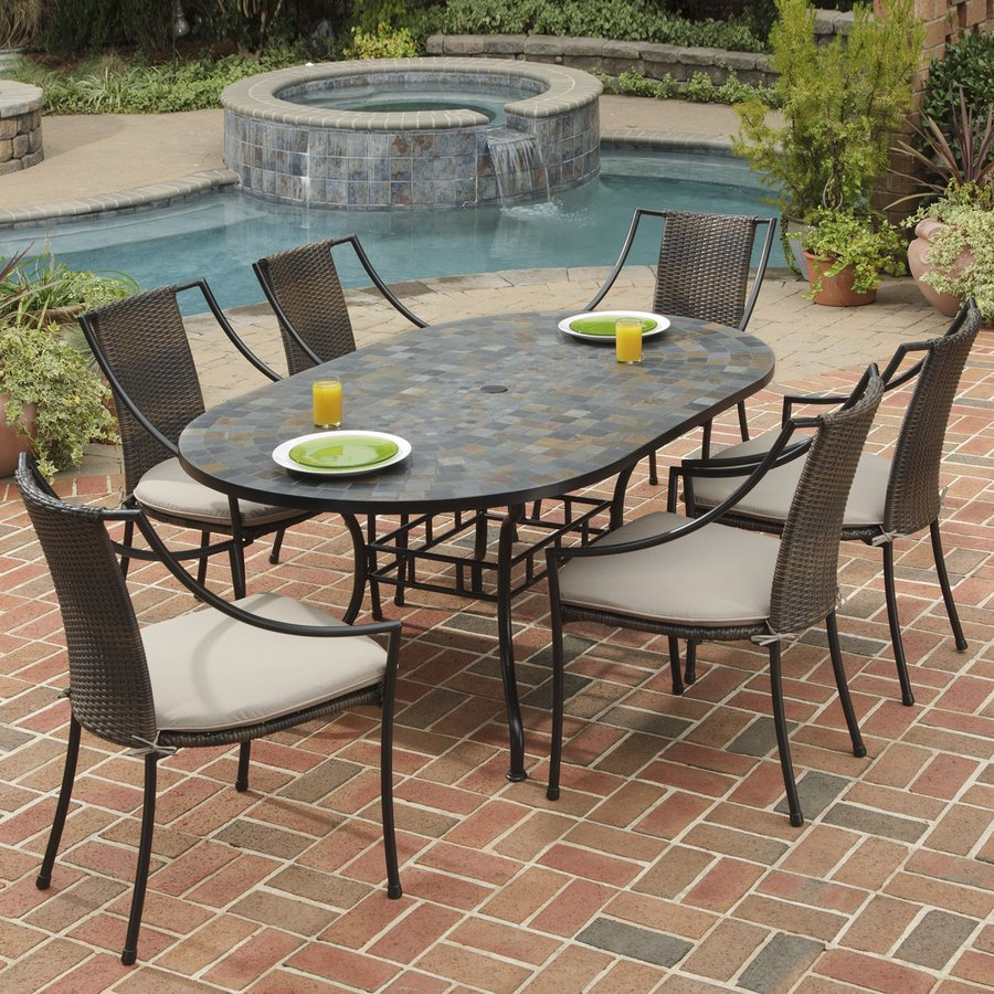 in home styles 7 piece stone harbor cushioned steel patio dining set