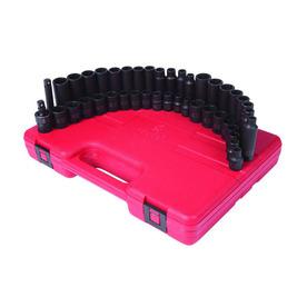 Sunex Tools 42-Piece 3/8-in Standard/Metric 6-Point Impact Socket Set