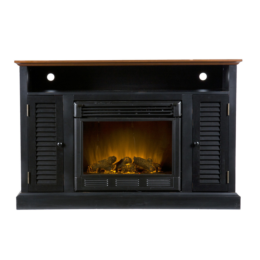 Shop Boston Loft Furnishings 48 In W Black And Walnut Wood Electric Fireplace Thermostat Remote
