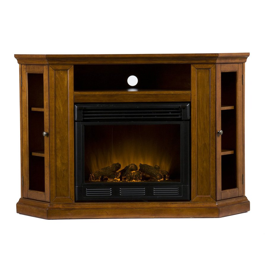 Shop Boston Loft Furnishings 48 In W Mahogany Wood Electric Fireplace Thermostat Remote Control
