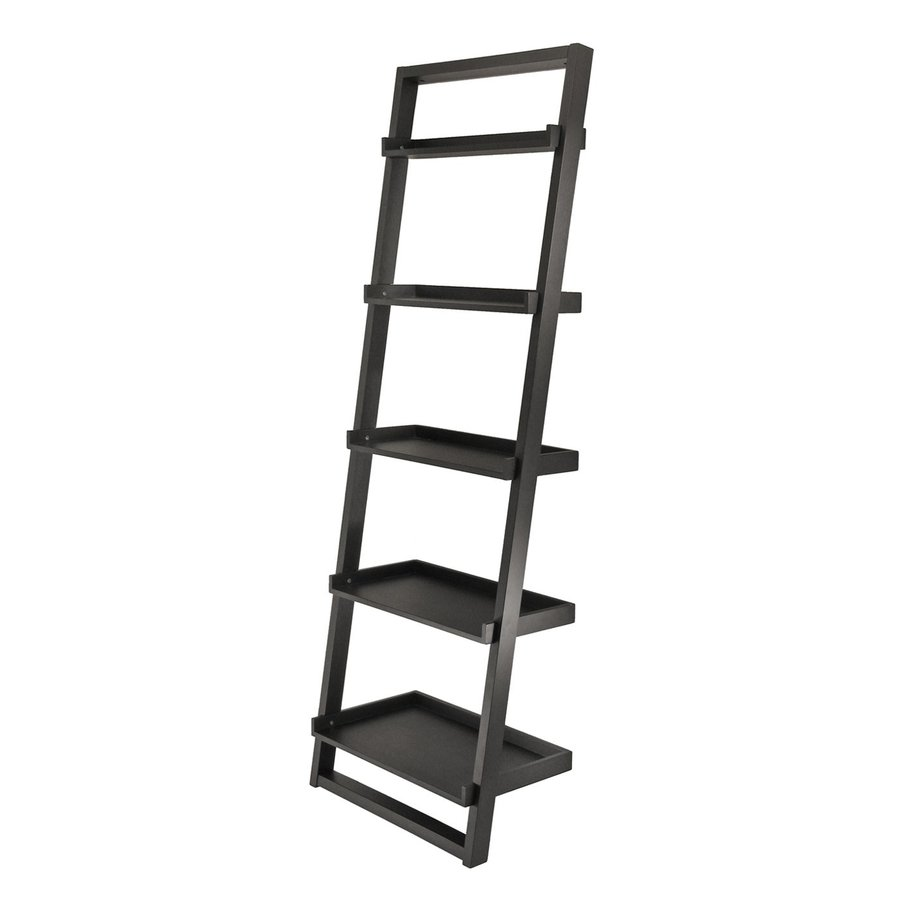 Shop Winsome Wood Bailey Black 75-in 5-Shelf Ladder Bookcase at Lowes ...