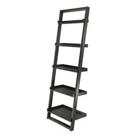 Winsome Wood Bailey Black 25-in W x 75-in H x 14-in D 5-Shelf Bookcase