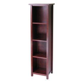 Winsome Wood Milan Antique Walnut 56-in 4-Shelf Bookcase