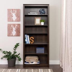 Prepac Furniture Espresso 31.5-in W x 77-in H x 13-in D 6-Shelf Bookcase