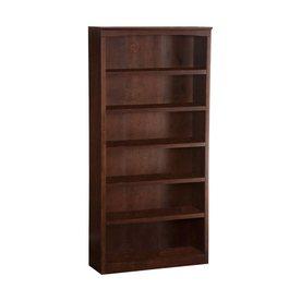 Atlantic Furniture Antique Walnut 36-in W x 72-in H x 12.5-in D 6-Shelf Bookcase