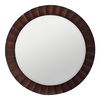 Cooper Classics Savona 36-in x 36-in Washed Brown Beveled Round Framed Wall Mirror