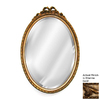 Hickory Manor House Bow 18-in x 27-in Etienne Gold Beveled Oval Framed Wall Mirror