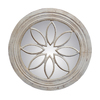Hickory Manor House Petal Circle 24.25-in x 24.25-in Old World White Polished Round Framed Wall Mirror