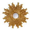 Hickory Manor House Padrone 25-in x 25-in Gold Leaf Polished Round Framed Sunburst Wall Mirror