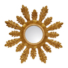Hickory Manor House Solare 29-in x 29-in Gold Leaf Round Framed Sunburst Wall Mirror