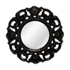 Hickory Manor House Clarity 24-in x 24-in Gloss Black Round Framed Wall Mirror