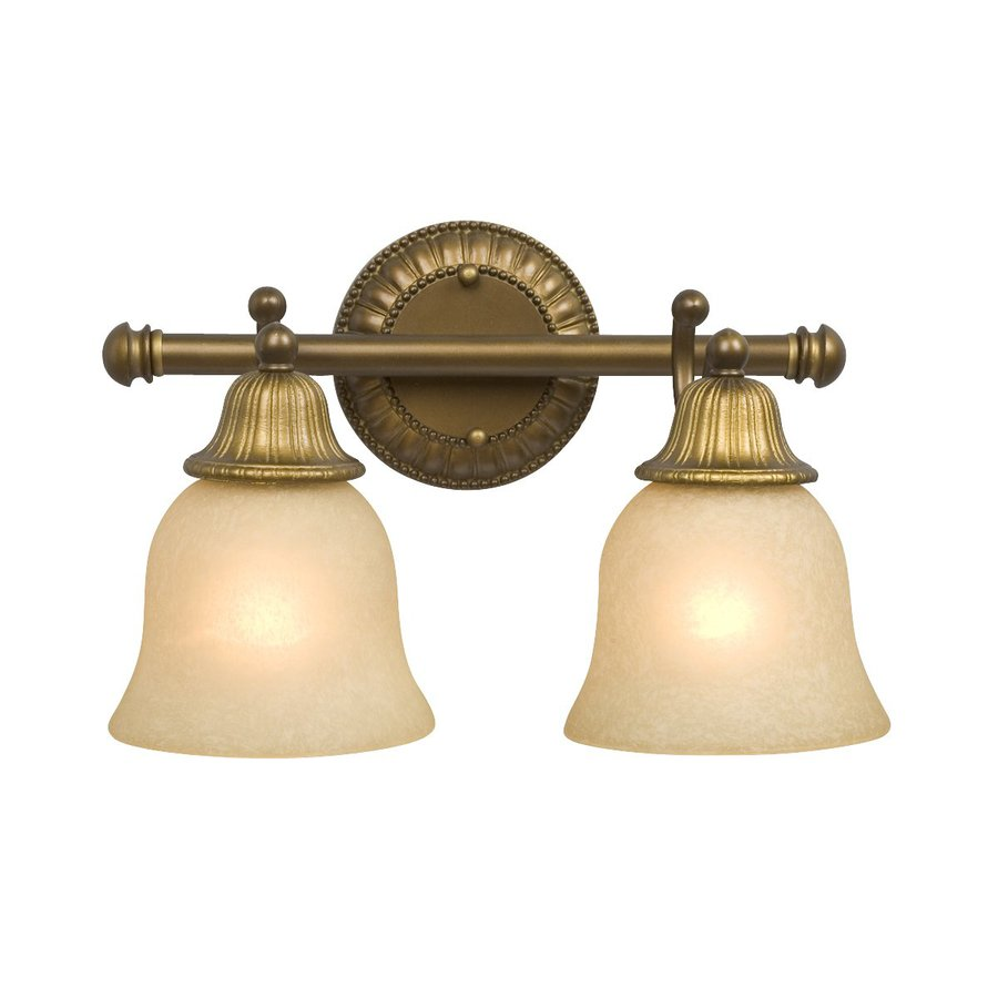 Antique Bathroom Vanity Lights : Shop Galaxy 2-Light Brymor Parisian-Antique Brass Standard Bathroom Vanity Light at Lowes.com