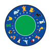 Learning Carpets 9-ft x 9-ft Round Multicolor Transitional Area Rug