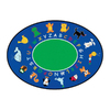 Learning Carpets Cut Pile Rug Oval Blue Animals Area Rug (Common: 9-ft x 12-ft; Actual: 8-ft 8-in x 13-ft 4-in)