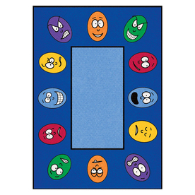 Learning Carpets Cut Pile Rug Rectangular Blue Educational Area Rug (Actual: 8-ft 3-in x 13-ft 4-in)
