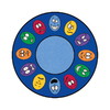 Learning Carpets Cut Pile Rug Oval Blue Educational Area Rug (Actual: 6-ft 6-in x 113-in)