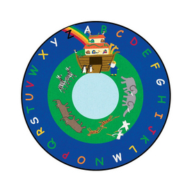 Learning Carpets Cut Pile Rug Round Blue Educational Area Rug (Actual: 9-ft x 9-ft)