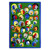 Joy Carpets Joyful Faces 91-in x 91-in Round Multicolor Holiday Indoor Use Only Area Rug