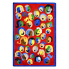 Joy Carpets Joyful Faces 134-in x 129-in Oval Multicolor Holiday Indoor Use Only Area Rug