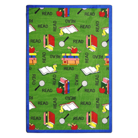 Joy Carpets Bookworm 10-ft 9-in x 7-ft 8-in Rectangular Multicolor Holiday Area Rug