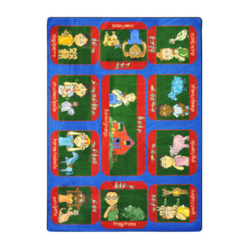 Joy Carpets Signs On The Farm 11-ft 2-in x 10-ft 9-in Rectangular Multicolor Educational Area Rug