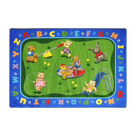 Joy Carpets Teddy Bear Playground 5-ft 4-in x 3-ft 10-in Rectangular Multicolor Educational Area Rug