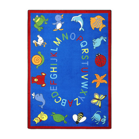 Joy Carpets Abc Animals 7-ft 8-in x 5-ft 4-in Oval Multicolor Educational Area Rug
