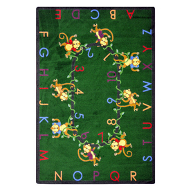 Joy Carpets Monkey Business 7-ft 7-in x 7-ft 7-in Round Multicolor Educational Area Rug