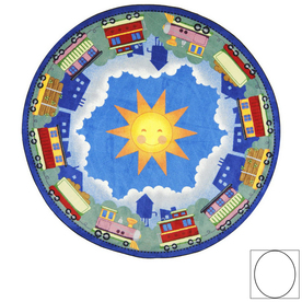 Joy Carpets In Training 7-ft 8-in x 5-ft 4-in Oval Multicolor Vehicles Area Rug