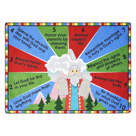 Joy Carpets Ten Commandments 5-ft 4-in x 3-ft 10-in Oval Multicolor Holiday Area Rug