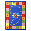 Joy Carpets Alphabet Pinwheel 13-ft 2-in x 13-ft 2-in Round Multicolor Holiday Area Rug