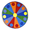 Joy Carpets Color Wheel 7-ft 7-in x 7-ft 7-in Round Multicolor Geometric Area Rug