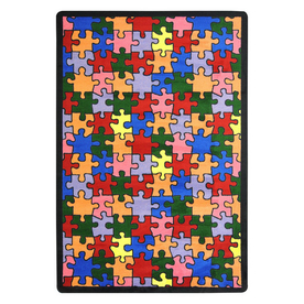 Joy Carpets Puzzled 5-ft 4-in x 3-ft 10-in Rectangular Multicolor Geometric Area Rug