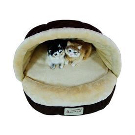 Armarkat Mocha/Beige Faux Suede and Soft Velvet Oval Cat Bed