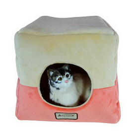 Armarkat Orange/Beige Soft Velvet Square Cat Bed