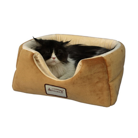 Armarkat Brown/Beige Soft Velvet Square Cat Bed