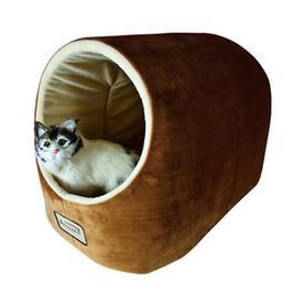 Armarkat Brown/Ivory Soft Velvet Cat Bed
