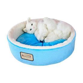 Armarkat Sky Blue/Ivory Soft Plush and Soft Velvet Round Cat Bed