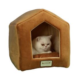 Armarkat Brown/Beige Soft Velvet Cat Bed