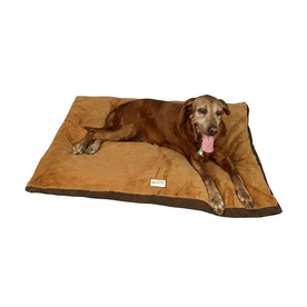 Armarkat Mocha/Brown Faux Suede and Soft Plush Rectangular Dog Bed