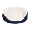 Majestic Pets Blue Luxurious Sherpa and Polyester/Cotton Twill Oval Dog Bed