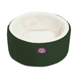 Majestic Pets Green/White Lush Sherpa and Polyester/Cotton Twill Round Cat Bed