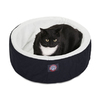 Majestic Pets Black/White Lush Sherpa and Polyester/Cotton Twill Round Cat Bed