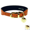 Hartman & Rose Sunkist Orange Leather Dog Collar