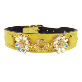 Hartman & Rose Canary Yellow Leather Dog Collar