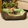 K&H Manufacturing Mocha/Green Microfleece and Polyester/Cotton Rectangular Dog Bed