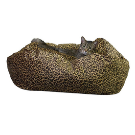 K&H Manufacturing Leopard print Polyester Square Cat Bed