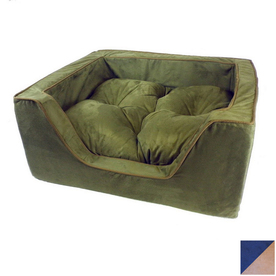 Snoozer Navy/Camel Microsuede Rectangular Dog Bed