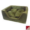 Snoozer Red/Camel Microsuede Rectangular Dog Bed